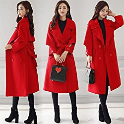 MO Autumn and Winter in the Long Section of the Trumpet Trumpet Sleeves Solid Color Lady Coat Fashion Women Thick Coat by MO