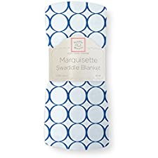 SwaddleDesigns Marquisette Swaddling Blanket, Pastel with Jewel Tone Mod Circles, True Blue (japan import)