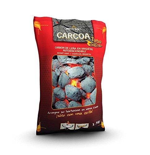 Carcoa Turbo 00973 Briquetas autoencendible 1,5 kg, Negro, 33x9x20 cm