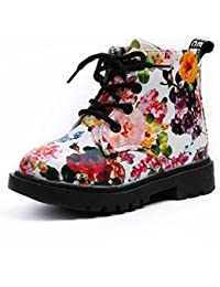 Transer® Fashion Girls Floral Boots Kids Martin Boots Toddler School Shoes c1ee9d8cd