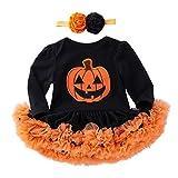 Fuibo Baby Halloween Kleidung, Infant Kleinkind Baby Mädchen Halloween Kürbis Bogen Party Kleid Kleidung Kleider Weihnachten Kleider Set (0-3M(59), Schwarz)