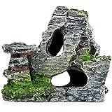 MSYOU Adornos para Acuario, Paisaje, pecera, decoración de Resina, rocío o Cueva, 8,5 x 8,5 x 11,5 cm (Gris)