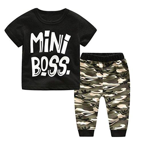 Prevently Baby-Anzug Kleinkind Kinder Baby Rundhals Jungen Brief drucken Print T-shirt Tops + Camouflage Hosen Outfits Kleidung Set (Schwarz, 6-12 monate/80)