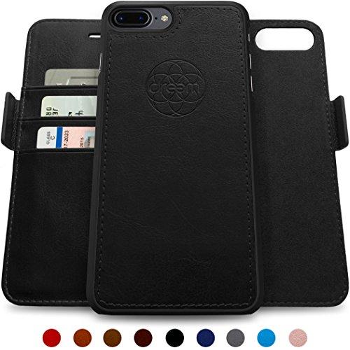 Dreem Fibonacci iPhone 7 PLUS & iPhone 8 PLUS Hülle und Brieftasche, herausnehmbare Schutzhülle, 2 Aufstellmöglichkeiten, RFID Schutz, Hochwertiges künstliches Leder, Geschenkverpackung - 5.5 Schwarz