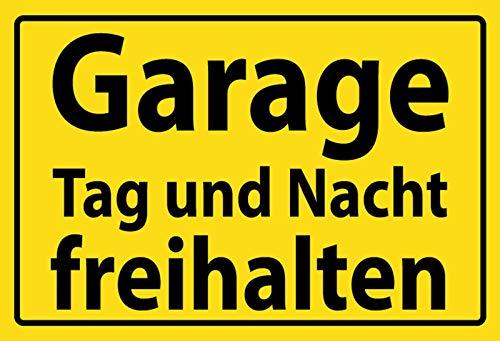 Blechschild Garage Tag und Nacht freihalten gelber Schild -