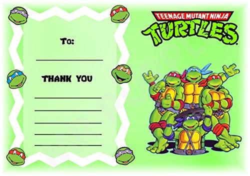 Teenage Mutant Ninja Turtles Thank You For Coming Geburtstag Party Karten–Zigzag Landschaft Design–Party Supplies/Zubehör (12Stück A6Thank You Karten) WITHOUT Envelopes