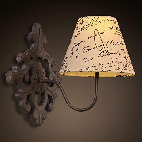 BBSLT Lampada da parete di ferro battuto villaggio americano copre europeo stile retrò-industriale corridoio luci scale lampada da comodino lampada da parete 320 * 300mm , Warm white
