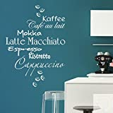 DESIGNSCAPE® Wandtattoo Kaffee Wortwolke - Latte Macchiato Espresso Cappuccino Mokka Café au lait Ristretto 90 x 120 cm (Breite x Höhe) creme DW803303-L-F102