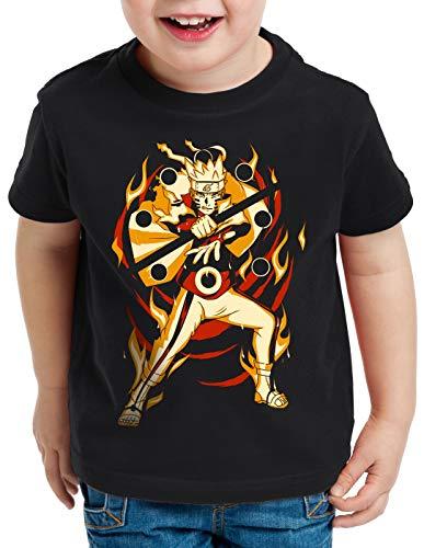 Kakashi Kostüm Billig Cosplay - style3 Kurama Modus T-Shirt für Kinder Uzumaki Ninja Anime Manga, Größe:128