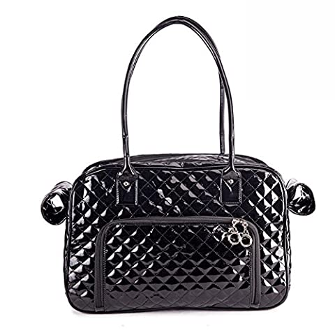 B-JOY High Quality Pet Dog Carrier with Two Big Back Pockets Two Side Windows, Dog Tote Bag Fashion Pu Leather Plaid Handbag Travel Purse - One Sizeriers with Double Chain Handles (Black(FBA))