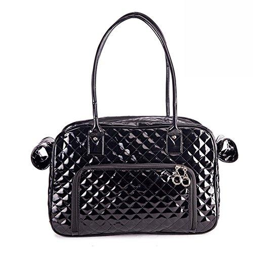 B-JOY Hohe Qualität Haustier Hund Träger, zwei große Rückentaschen, zwei Seitenscheiben, Hundetaschen Tote Tasche Mode PU Leder Handtasche Plaid Reisegeldbörse - One Size (Schwarz) (Tote Tasche Leder Zwei)
