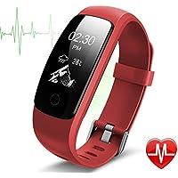 Pulsera Actividad Pulsera Inteligente con GPS para Correr,IP67 Impermeable Pulsera Móvil Monitor de Ritmo Cardíaco, Sueño, Control de Musica y Cámara, Notificación de Mensaje, Reloj Inteligente para iOS y Android Rojo