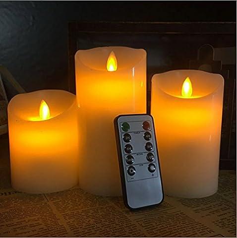 topstone® Fernbedienung LED STUMPENKERZEN, Powered by 3AAA Akku, mit Timer und Dimmer, aus echtem Wachs, 3Stück, für Dekoration, Festivals, Hochzeiten