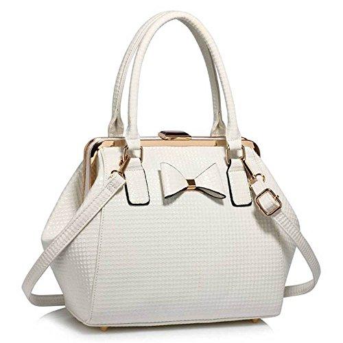TrendStar Damen Designer-Handtaschen-Schulter-Patent Bow Frame Satchel Frauen faux Leder Promi-Tasche (Leder-schulter-tasche Frame)
