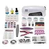 Anself - Set 61Pcs completo de uñas manicura de juego kit de 9W lámpara secador de uv gel esmaltes pegatinas acrílico consejos removedor pinceles de clavos
