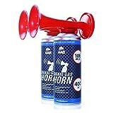 AAB Signal Gas Horn 400 ml - Laut Nebelhorn 106 dB(A), Airhorn, Fußball Tröte, Gasfanfare, Pressluft Luftdruck Fanfare, Drucklufthupe, Tröte - Wertpaket 2 Stück