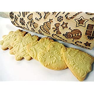 Embossing rolling pin CHRISTMAS GIFTS . Laser engraved dough roller with CHRISTMAS GIFTS pattern