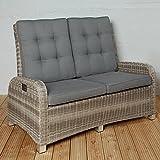 Exklusives Gartensofa für 2 Personen aus Poly Rattan für Ihre Terrasse oder Garten - Gartenmöbel Set Sitzgruppe in braun Terrassensofa Couch mit verstellbarer Rückenlehne + Kissenauflagen
