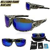 tryway Beste Qualität Sonnenbrille für Männer Sport Outdoor Camouflage Rahmen Braun UV Polarisierte Sonnenbrille Günstige Classic Herren Frames Goggle Cool Angeln Brille Designer Polaroid Orange Gläser, blau