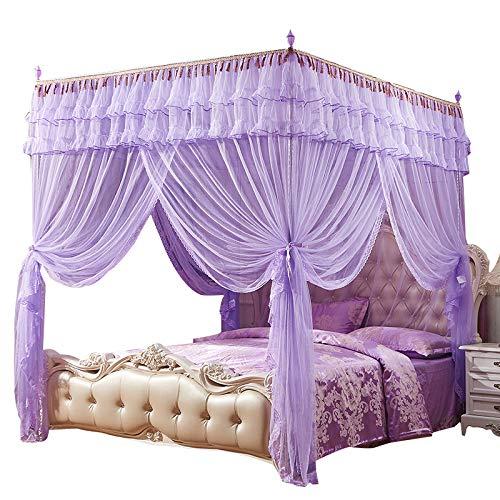 Zanzariera - letto a tre porte palazzo quadrato superiore staffa in acciaio inossidabile viola 16 mm 1,8 * 2,2 m