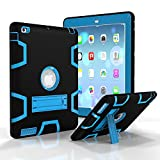 IPad 2/3/4/ TEMPO Silicone Plastic Protective Dual Layer Shock Absorbing Kids-Proof Case Built in Stand Designed for the Apple iPad 2/3/4(Black+Blue)