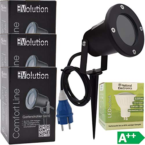 3x Evolution Comfortline jardín GU10 focos LED incl. National Electronics 3.5W bombillas...