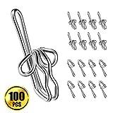 WXJ13 100 Pack Metal Curtain Hooks Drapery Hooks Curtain Header , Silver