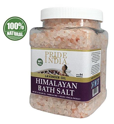 Pride Of India sale rosa dell'Himalaya bagno arricchito w / olio di lavanda e 84+ minerali naturali, 2,5 libbre (40 once) barattolo