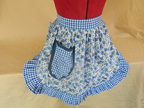 Fabrique Creations - Retro Vintage 50s Style Half Apron / Pinny - Blue & White (Roses) with Blue & White Gingham Trim (FC005H)
