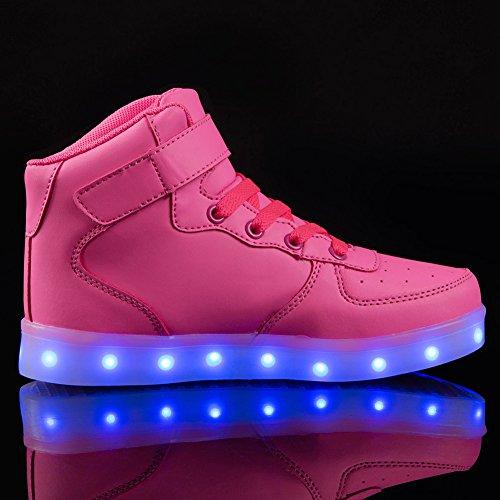 FLARUT LED Schuhe High Top Light Up Sneakers USB Aufladung Blinkende Schuhe Mit Fernbedienung Für Frauen Männer Kinder Jungen Mädchen Rosa
