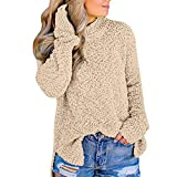 UJUNAOR Frauen Rollkragen Pullover Solide Langarm Herbst Top Bluse(Beige,CN M)