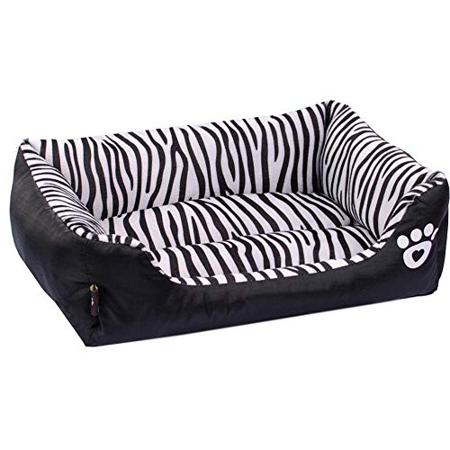 WYJW Pet Bolster Dog Bed Comfort Zebra Pet Sofa Cama