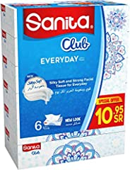 Sanita Club Facial Tissue 76 Sheets 2 Ply X 6 Pieces , Multi Color