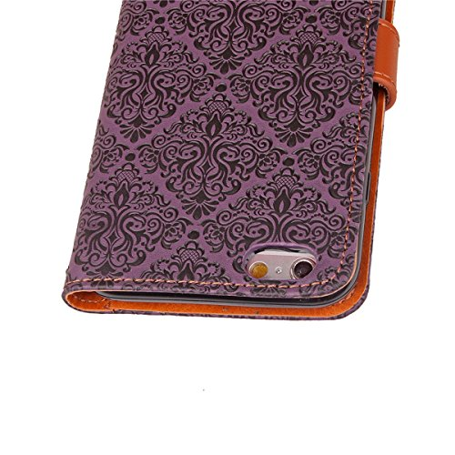JAWSEU Coque Etui pour iPhone 6 Plus/6S Plus 5.5,iPhone 6S Plus Leather Case with Strap,iPhone 6 Plus Etui en Cuir Folio Flip Wallet Cover Case,2017 Neuf Style Femme Homme Up and Down Unlock Holster R Violet*