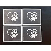 Dazzle Glitter Tattoos 10 x Paw in heart stencils for etching on glass dog Crufts gift present craft