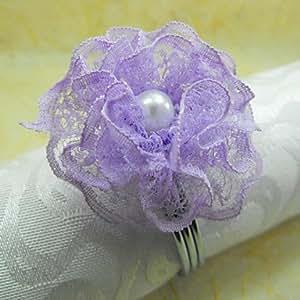 meihao Spitze Serviette Ring Set von 6, Organza/Acryl Durchmesser 4,5cm, zufällige Farbe