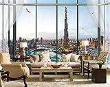 Wxlsl Fototapete Benutzerdefinierte 3D Wandbild Wohnzimmer Fenster Burj Dubai Stadt Malerei Sofa Tv Hintergrund Vliestapete Für Wände-350cmx256cm