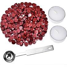 230 Stücke Siegellack Perlen Stempel Dichtung Stick Zubehör mit 2 Stücke Kerzen und 1 Stück Schmelzlöffel für Stempel Versiegelung (Weinrot)