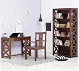 #8: Shilpi Solid Wood X-Factor Designer Study & Laptop Table Included 2 Drawers with Chair + Book Shelf Wardrobe