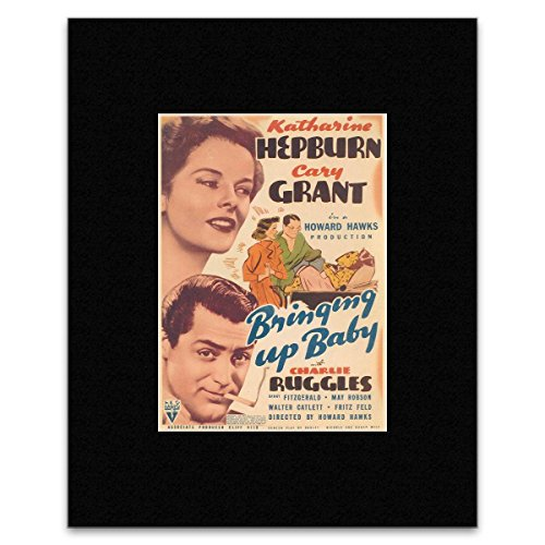 BRINGING UP BABY - Cary Grant and Katharine Hepburn 2 Matted Mini Poster - 30.2x21.4cm -