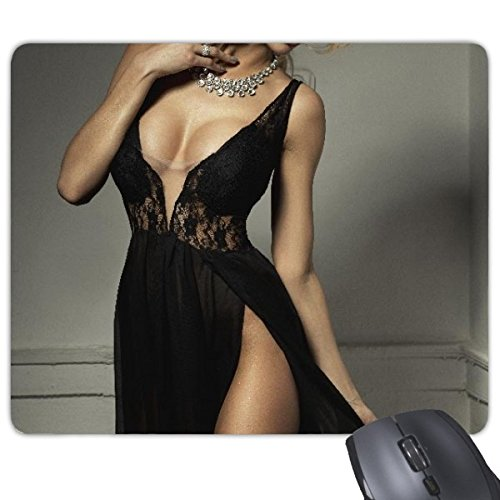 Elegante-vestido-de-Gal–Pechos-sexy-babe-chica-pechos-encaje-sujetador-Lady-Photo-Rectngulo-antideslizante-de-goma-Mousepad-ratn-juego-almohadilla-de-regalo