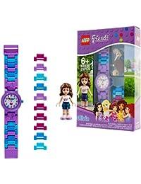 LEGO Friends 8020165 Orologio da polso componibile per bambini con cinturino a maglie e minifigure Olivia | per i bambini | ragazzo/ragazza | viola/blu | Diametro di 28 cm | Quarzo analogico