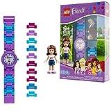 LEGO Friends 8020165 Orologio da polso componibile per bambini con cinturino a maglie e minifigure Olivia   per i bambini   ragazzo/ragazza   viola/blu   Diametro di 28 cm   Quarzo analogico immagine