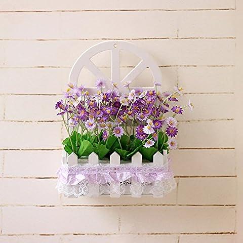 Fiore di emulazione montaggio a parete parete decorazione cesti floreali kit floreali false piante fiorite in stile Europeo di soggiorno ornamenti di legno ,15*7,5*22cm,36