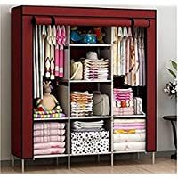 "House of Quirk 66"" Fabric Portable Wardrobe Storage Organizer - Maroon"