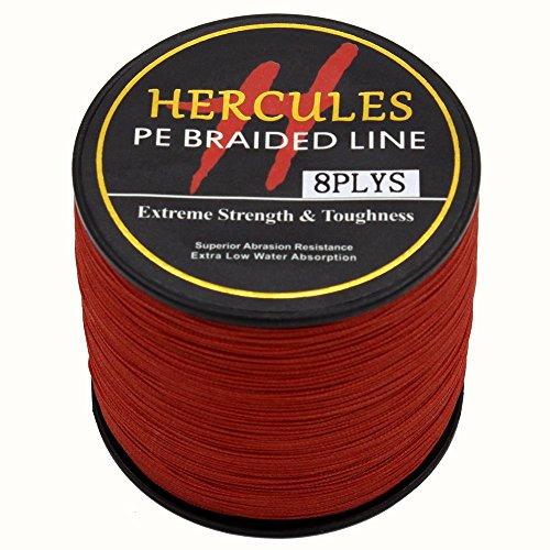 Hercules PE Superline geflochtene Angelschnur, 300?m, 2,7?10lb-300lb, 8-fach, Herren, rot, 60lb/27.2kg 0.40mm