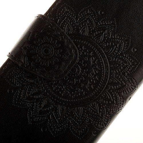 Leather Case Cover Custodia per Apple iPhone 6/6S 4.7 Zoll ,Ecoway Caso / copertura / telefono / involucro disegno mandala in rilievo retro della del modello PU con a Bookstyle tasche carte di credito nero