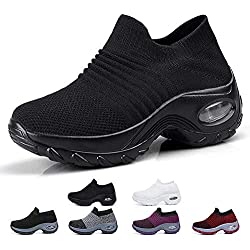 Funnie Zapatillas Deportivas de Mujer Deportivas Correr Gimnasio Casual Zapatos Running Caminar Mesh Transpirable Aumentar Más Altos Sneakers Tacón Cuña 4CM