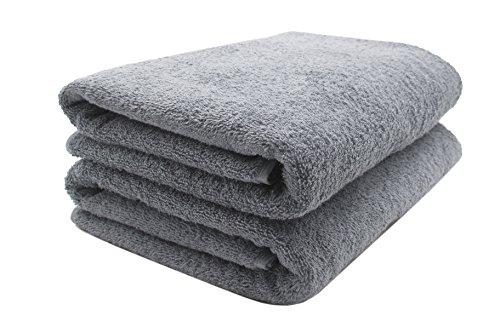 Zollner 2er Set Saunatuch Baumwolle, grau (weitere Farben), 70x200 cm
