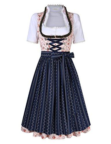 Clearlove Dirndl 3 tlg.Damen Midi Trachtenkleid für Oktoberfest- Spitzen Kleid, Bluse & Schürze- Gr. 36, Rosa Blumen